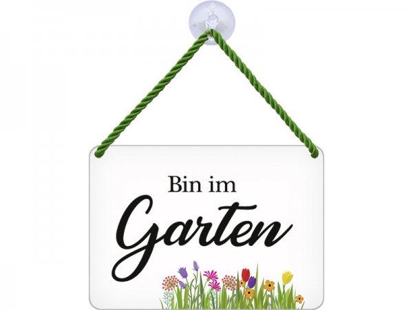 Kulthänger Blechschild Bin im Garten KH024