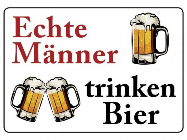 Blechpostkarte Echte Männer trinken Bier