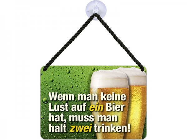 Kulthänger Blechschild ein zwei Bier KH147