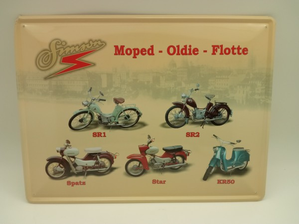 "DDR Simson 5er Collage ""Moped-Oldie-Flotte"" 30x40 Blechschild"