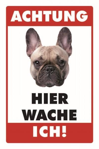 Französische Bulldogge Achtung Hier wache ich!