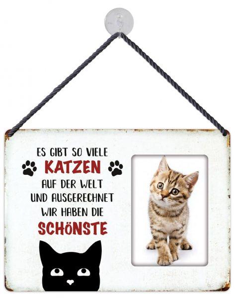 Kult-Rahmen Blechschild Schönste Katze KR017