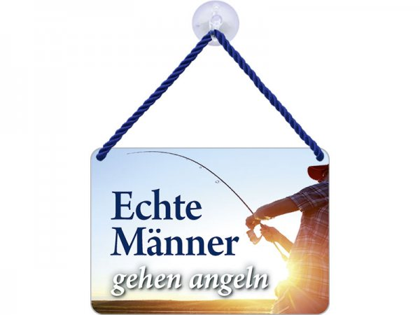 Kulthänger Blechschild Echte Männer angeln KH108