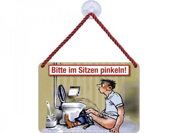 Kulthänger Blechschild Bitte im Sitzen pinkeln KH049