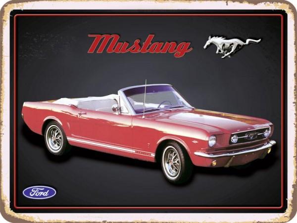 Blechschild Ford Mustang rot quer Cabriolet