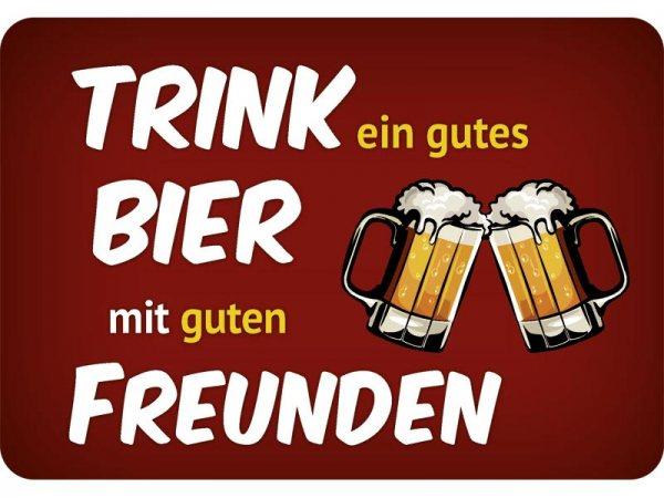 Kulthänger Blechschild Bier gute Freunde KH105