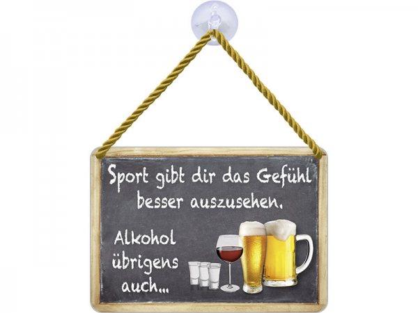 Kulthänger Blechschild Sport und Alkohol KH046