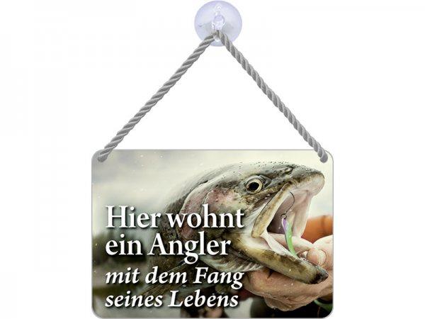 Kulthänger Blechschild Angler + Fang KH109