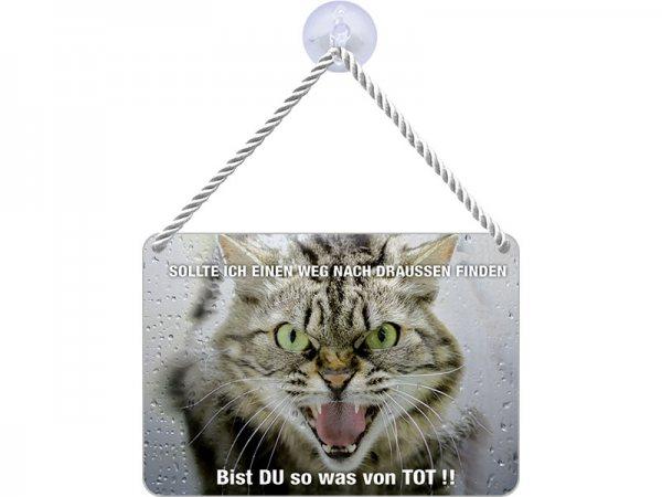Kulthänger Blechschild Du bist tot Katze KH015