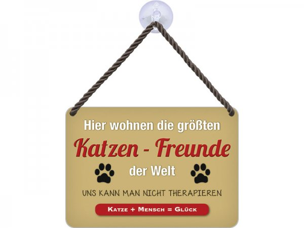 Kulthänger Blechschild Katzen-Freunde KH011