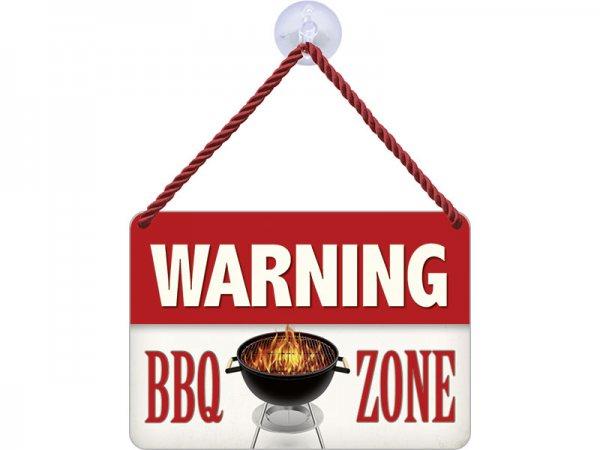 Kulthänger Blechschild Warning BBQ KH132