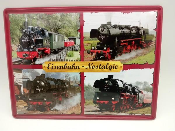 Blechschild Eisenbahn-Nostalgie 4er Collage