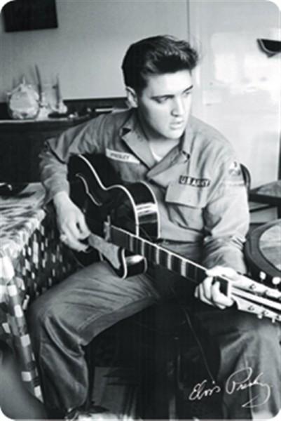Elvis mit Gitarre Schwarz-Weiss