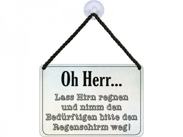 Kulthänger Blechschild Oh Herr, lass Hirn regnen KH023