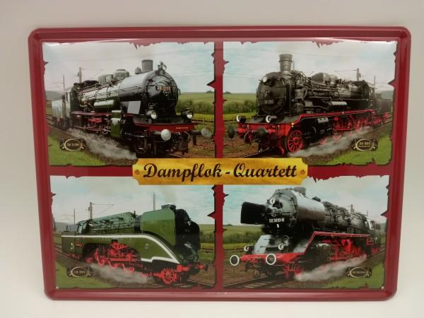 Dampflock-Quartett 4er Collage Blechschild
