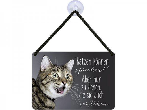 Kulthänger Blechschild Katzen sprechen KH085