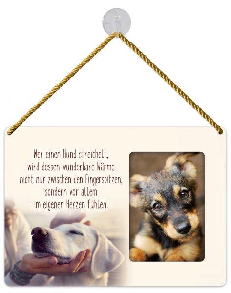 Kult-Rahmen Blechschild Hund streicheln KR034