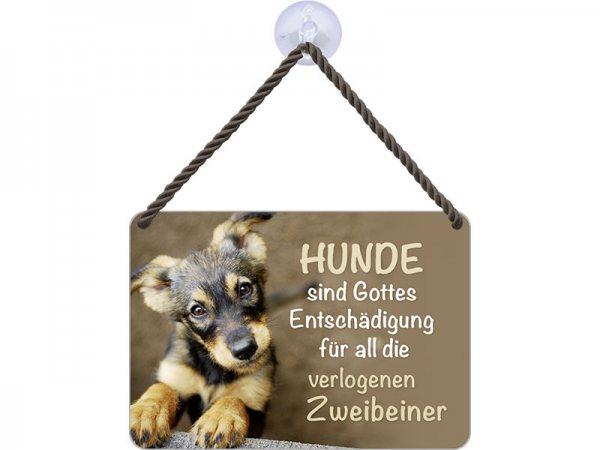 Kulthänger Blechschild Hunde + Zweibeiner KH084