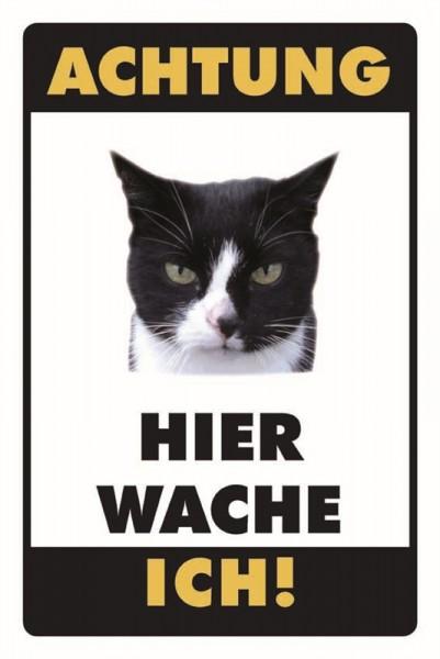 Schwarz-Weisse Katze Achtung Hier wache ich!